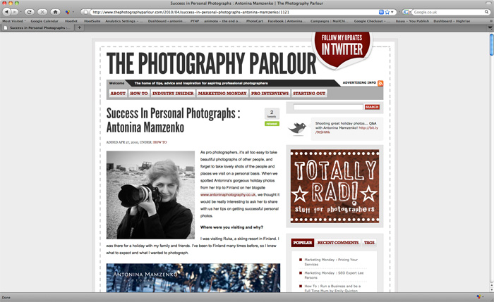 Featured on The Photography Parlour… again!