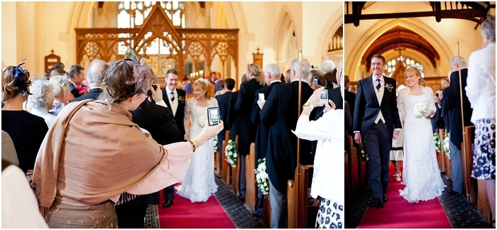 wedding ceremony at Burghclere, bride and groom walking up the aisle