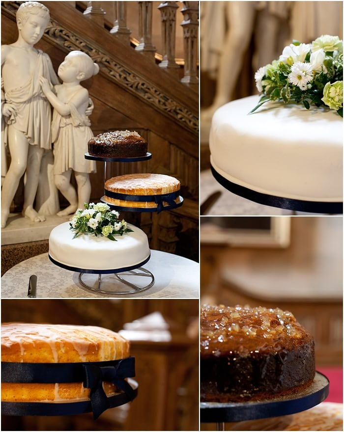 unusual wedding cake with 3 separate layers
