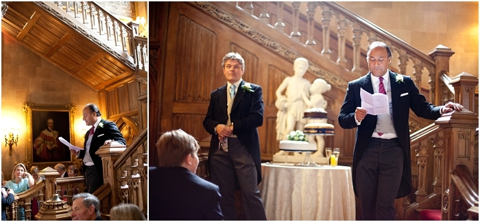 speeches at the grand staircase at Highclere Castle, Downton Abbey