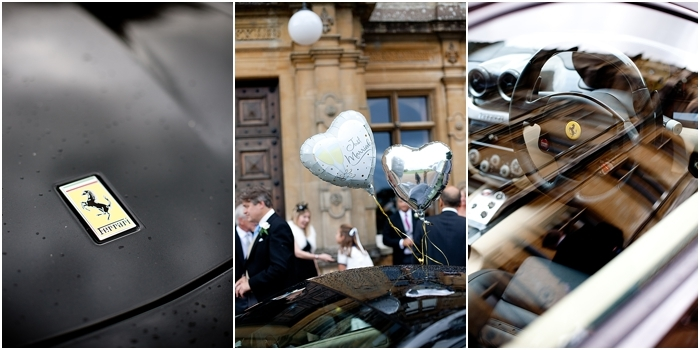 bride and groom leaving in a Ferrari after wedding reception at Highclere Castle