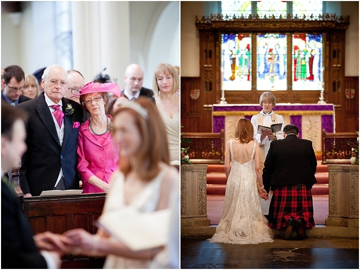 wedding ceremony at St Mary's in Wimbledon