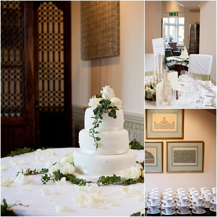 wedding cake and table details at a wedding at Warren House, Kingston-upon-Thames
