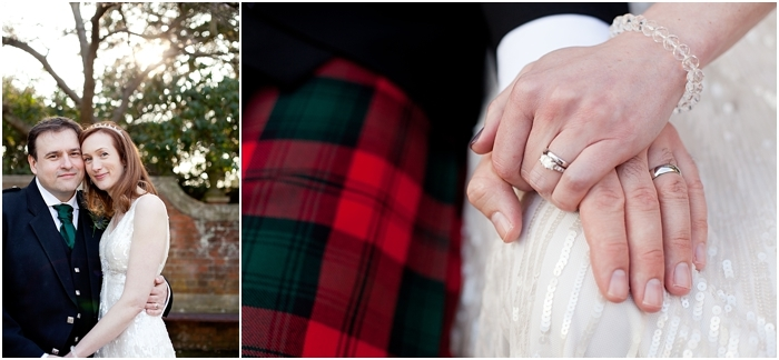 groom wearing a kilt with close-up on wedding rings