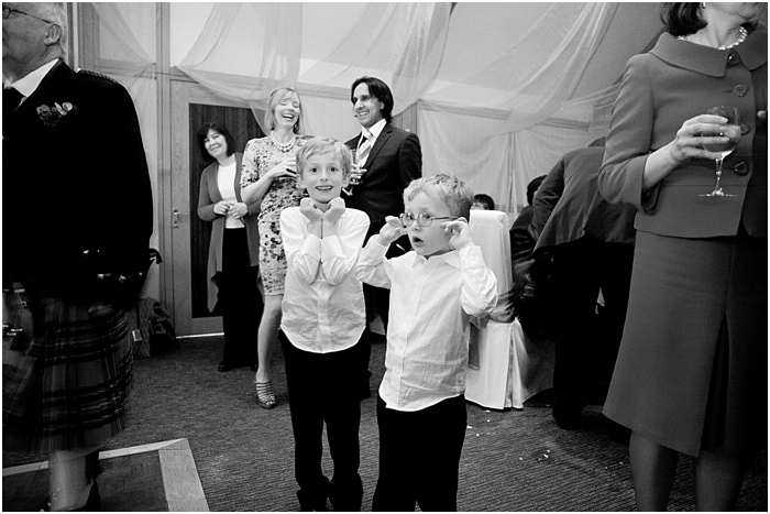 children at a wedding with loud music