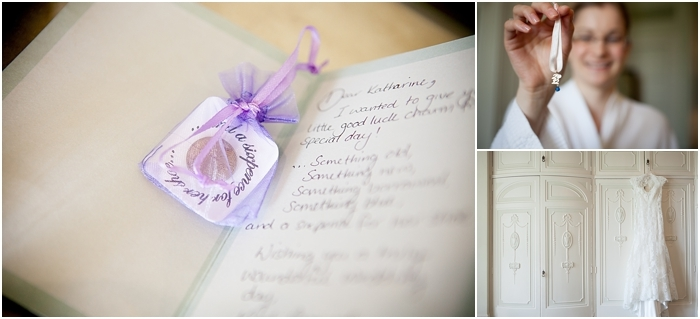 wedding details: dress, lucky sixpence with a poem and something blue luck charm