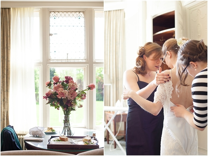 Bride getting ready in the Master Suite in Woodlands Park Hote