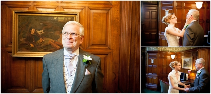 father of the bride seeing his daughter for the first time in the dress