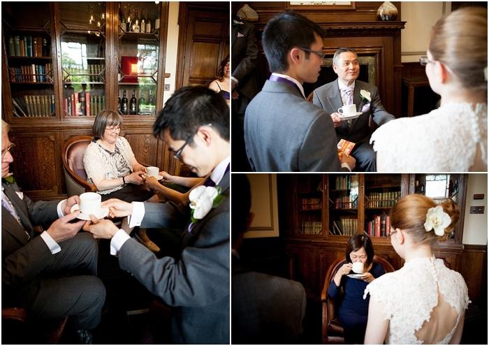 tranitional chinese tea ceremony at english wedding, woodlands park hotel