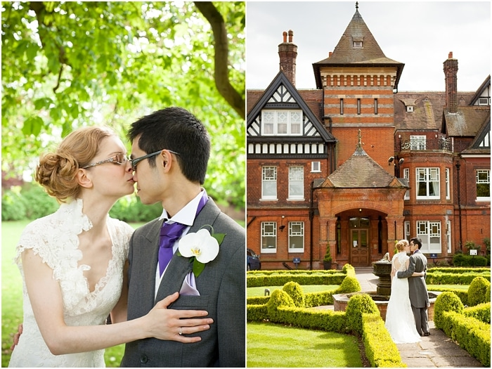 bride and groom portraits at woodlands park hotel