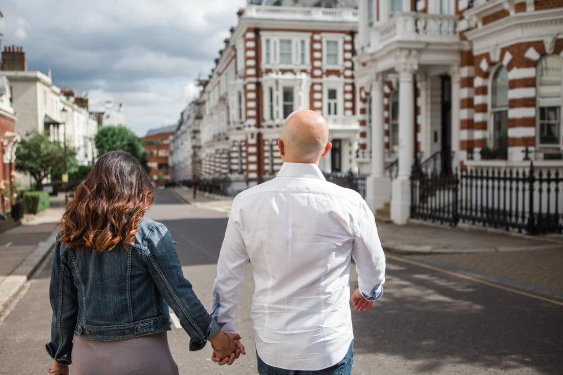 couple walking london streets