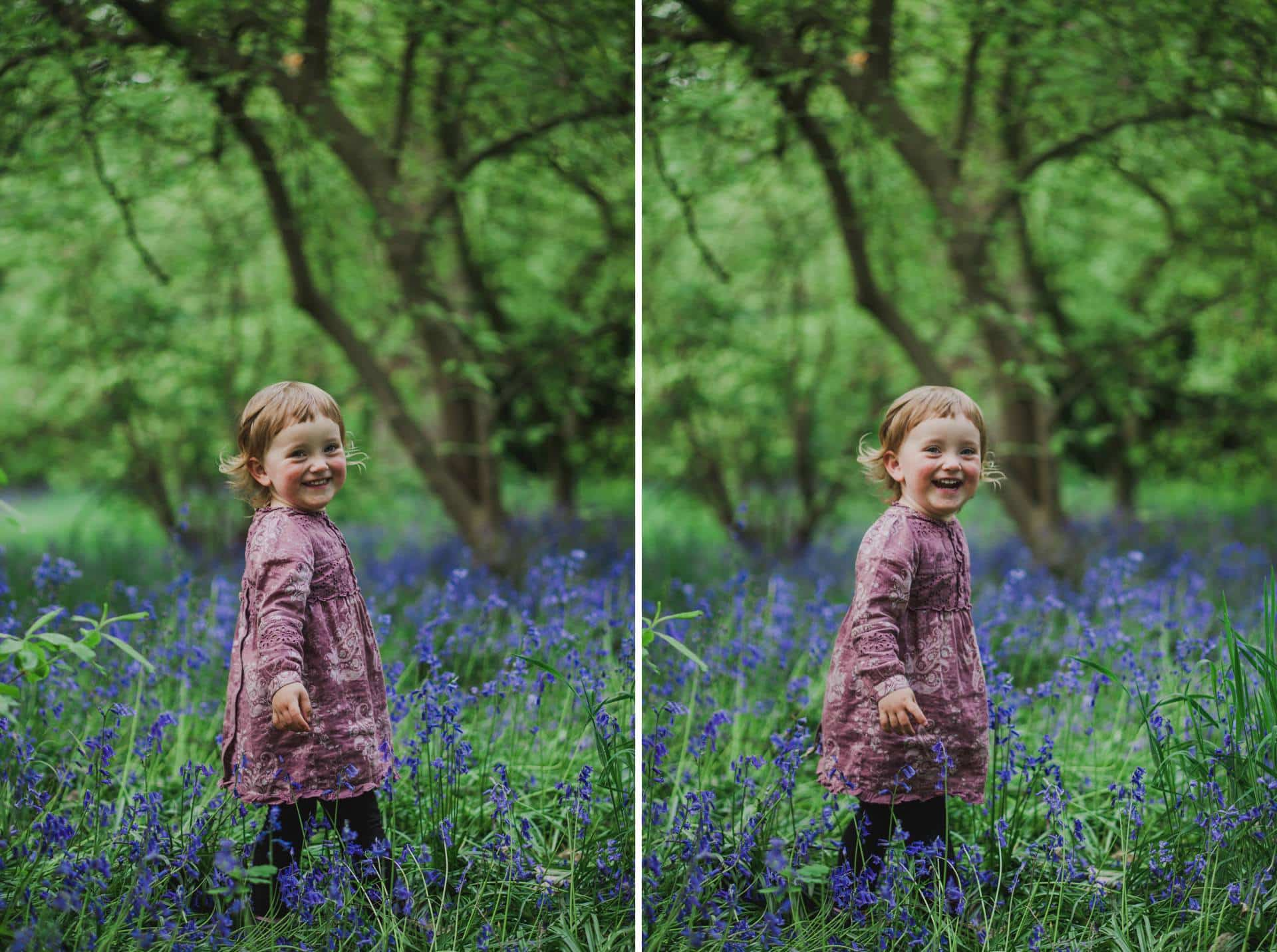 how to photograph your kids in bluebell woods