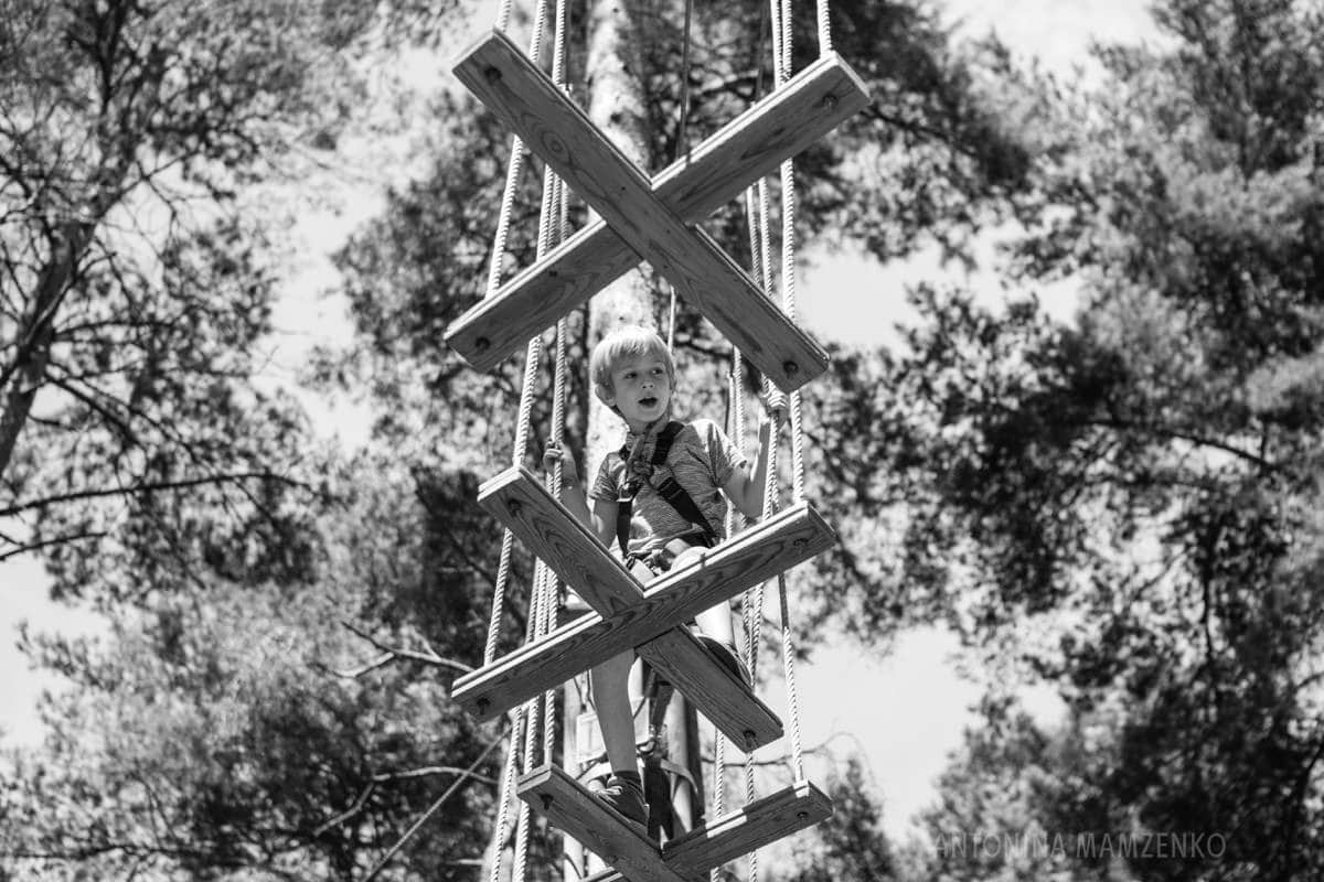 boy climbing a tree walkway at go ape bracknell