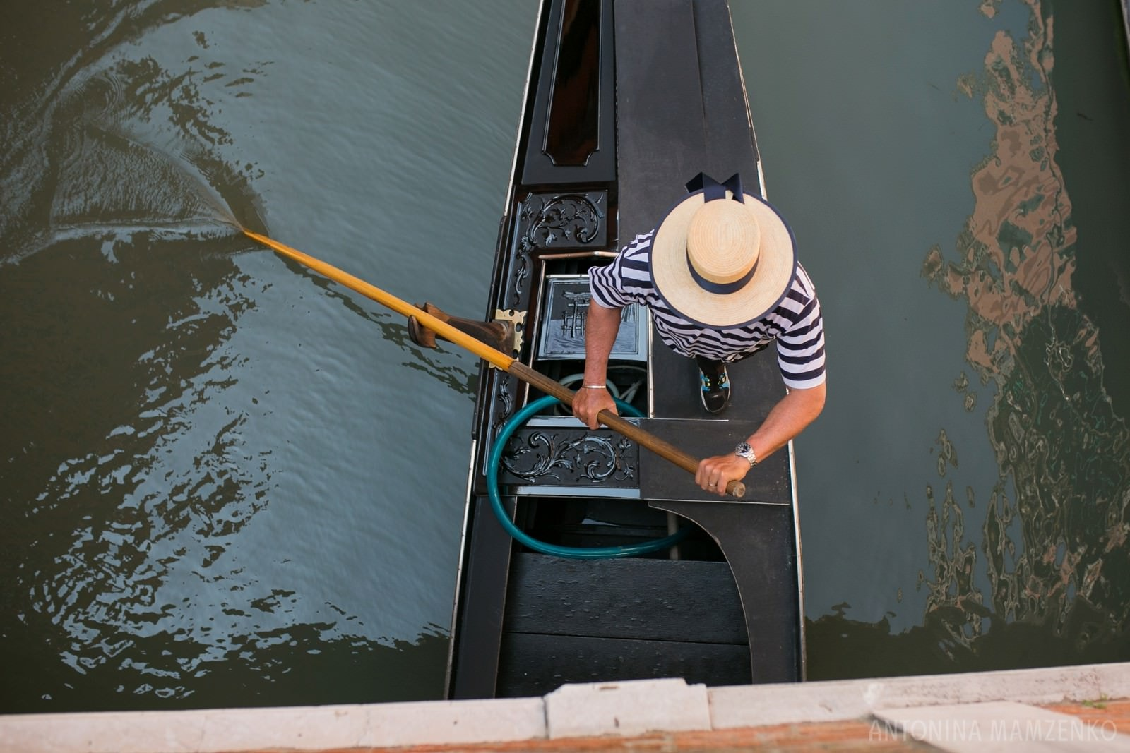 gondola photographed from above in Venice