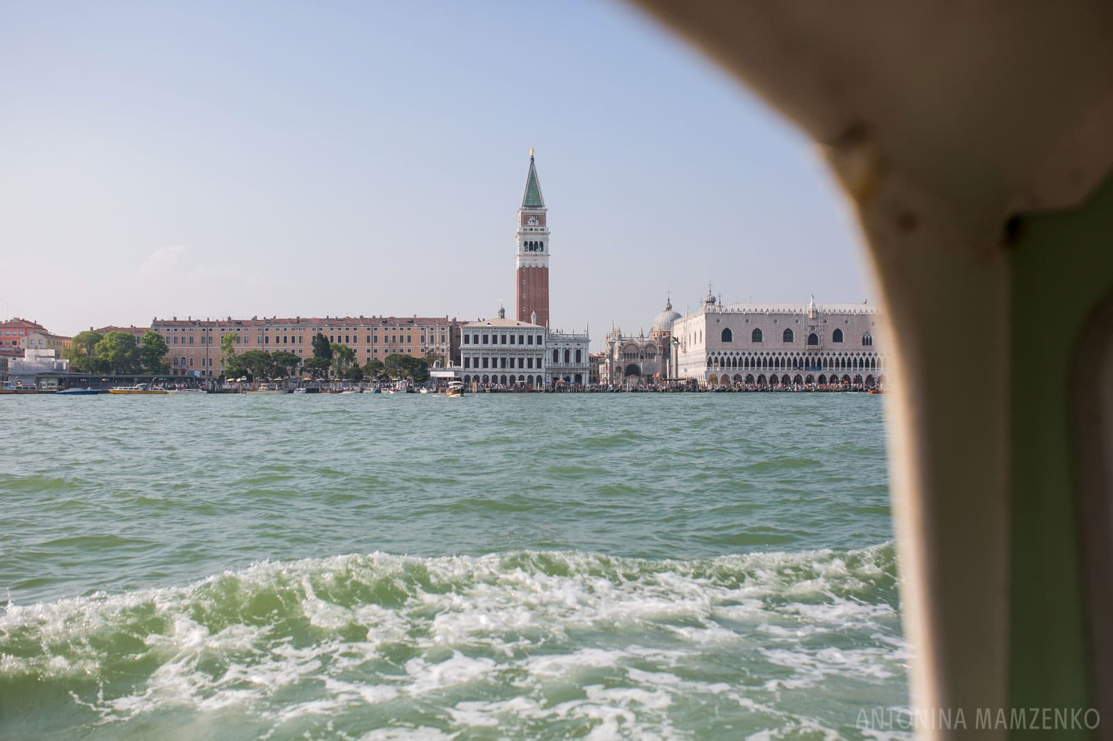 view of St Marco's square from the Grand Canal boat