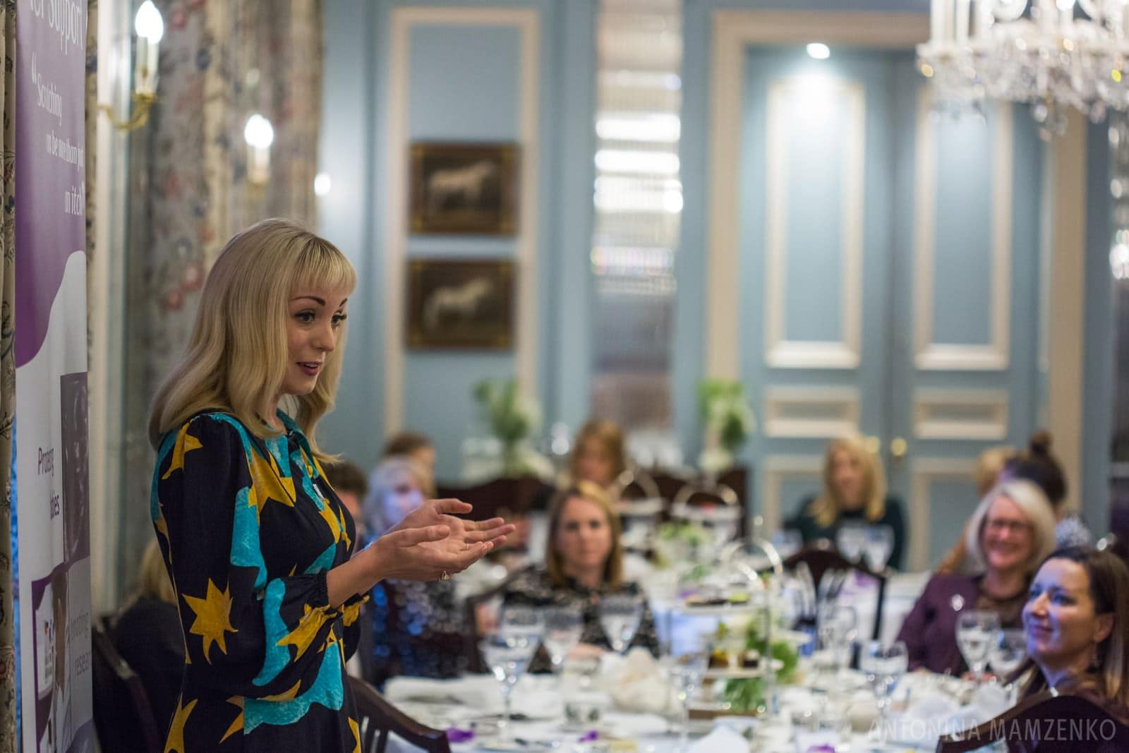 Helen George speaking at ICP Support charity afternoon tea event